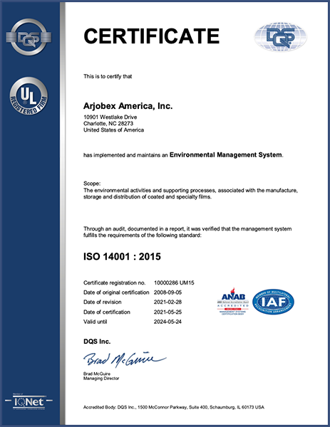 ISO 14001 - 2015 - Arjobex America - Charlotte