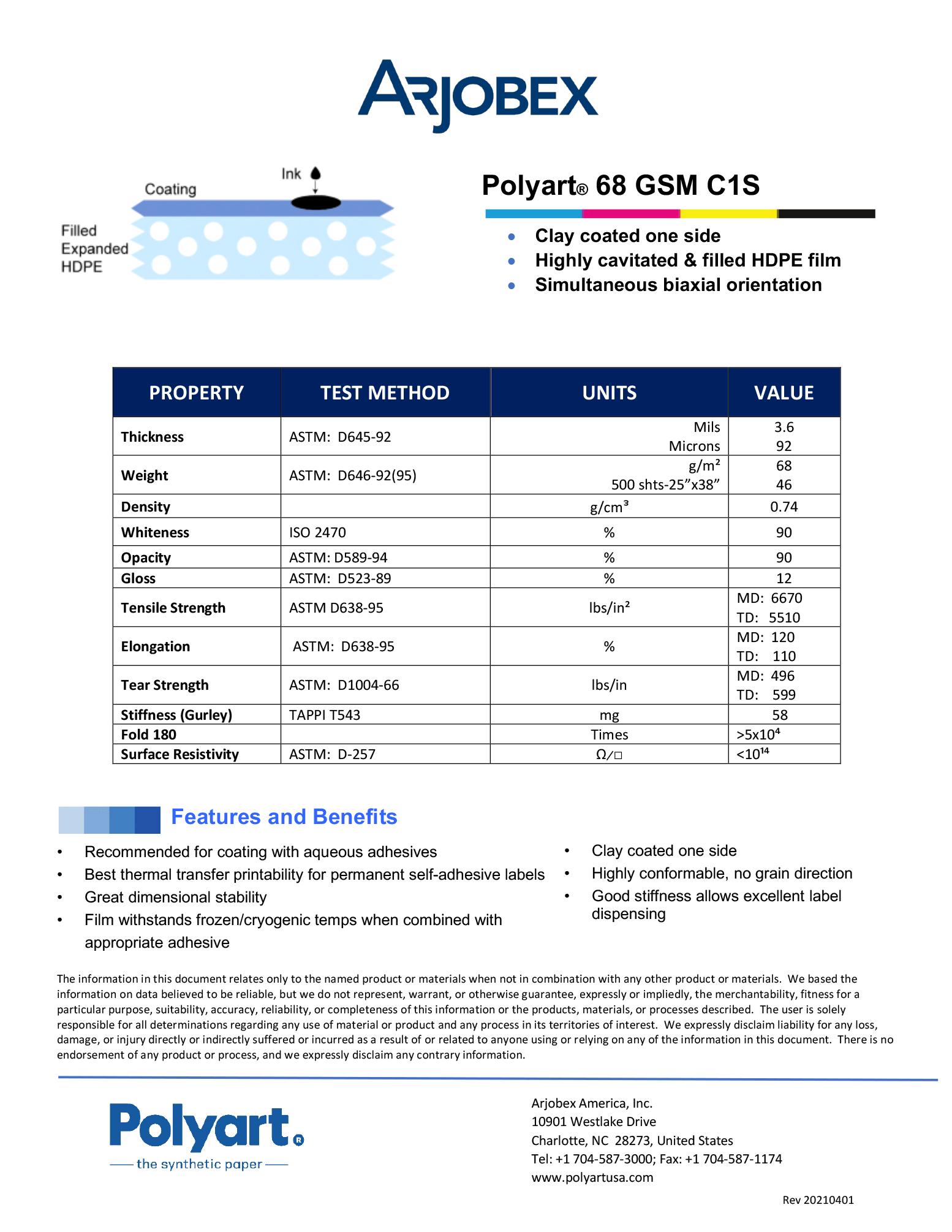 Arjobex Data Sheet_Polyart 68 GSM C1S