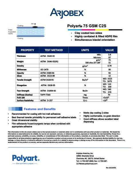Arjobex Data Sheet_Polyart 75 GSM C2S