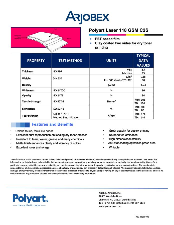 Arjobex Data Sheet_Polyart for Laser 118 GSM