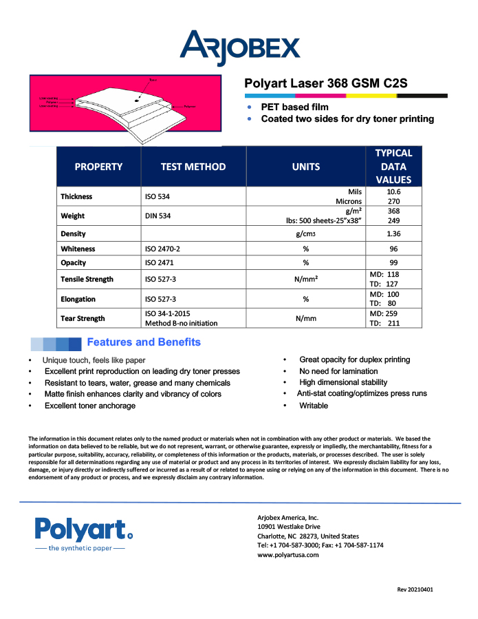 Arjobex Data Sheet_Polyart for Laser 368 GSM