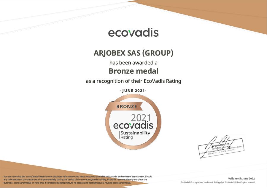 Arjobex - certificat ECOVADIS
