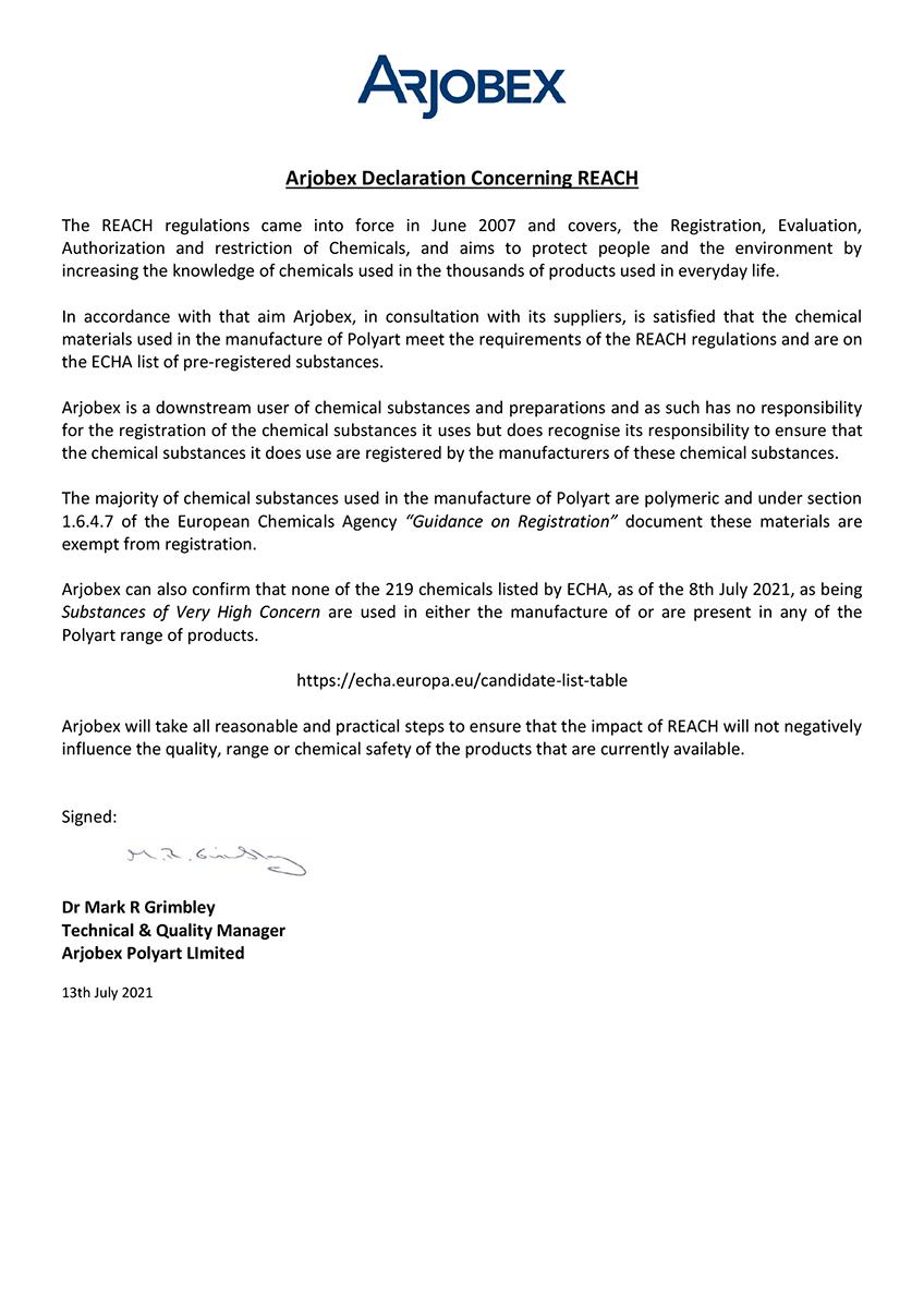 Arjobex REACH Statement - 13th July 2021